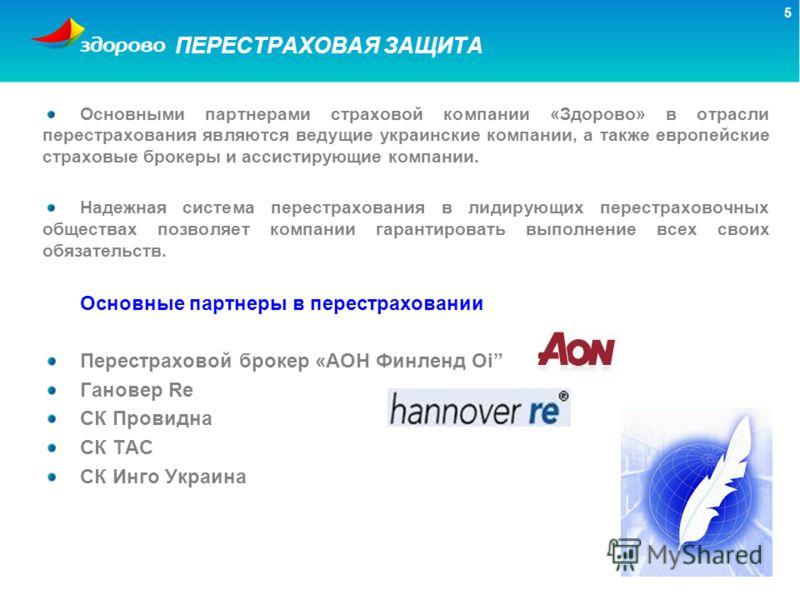 5 ПЕРЕСТРАХОВАЯ ЗАЩИТА Основными партнерами страховой компании «Здорово» в отрасли перестрахования являются ведущие украинские компании, а также европейские страховые брокеры и ассистирующие компании. Надежная система перестрахования в лидирующих пер