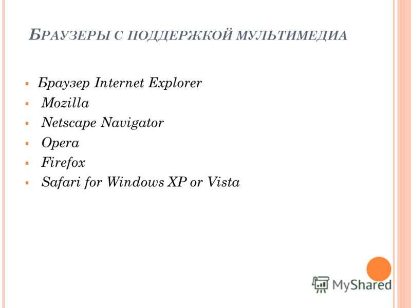 Б РАУЗЕРЫ С ПОДДЕРЖКОЙ МУЛЬТИМЕДИА Браузер Internet Explorer Mozilla Netscape Navigator Opera Firefox Safari for Windows XP or Vista