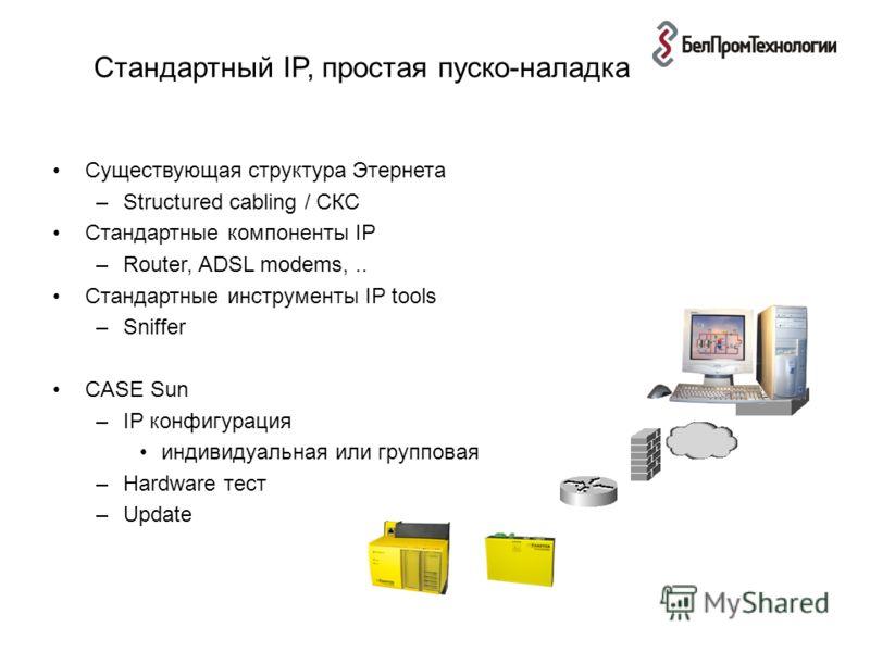 Стандартный IP, простая пуско-наладка Существующая структура Этернета –Structured cabling / СКС Стандартные компоненты IP –Router, ADSL modems,.. Стандартные инструменты IP tools –Sniffer CASE Sun –IP конфигурация индивидуальная или групповая –Hardwa