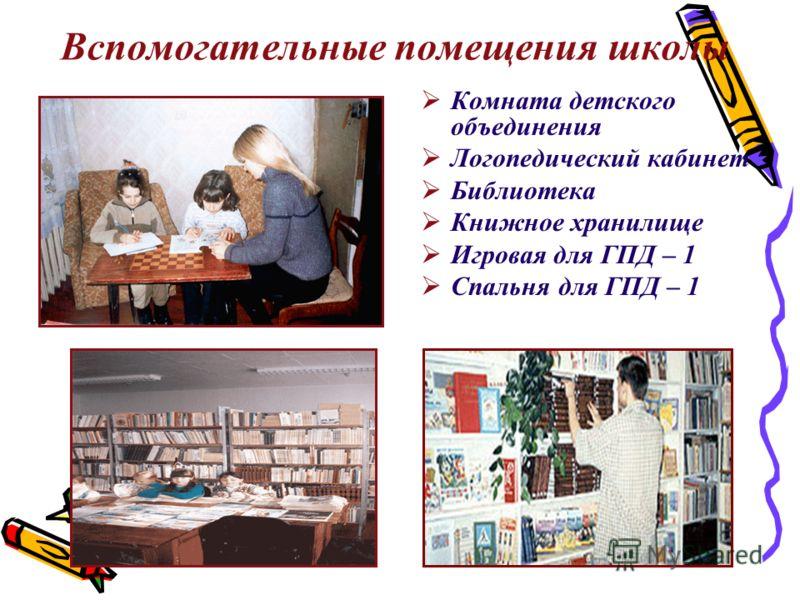 Вспомогательные помещения школы Комната детского объединения Логопедический кабинет Библиотека Книжное хранилище Игровая для ГПД – 1 Спальня для ГПД – 1