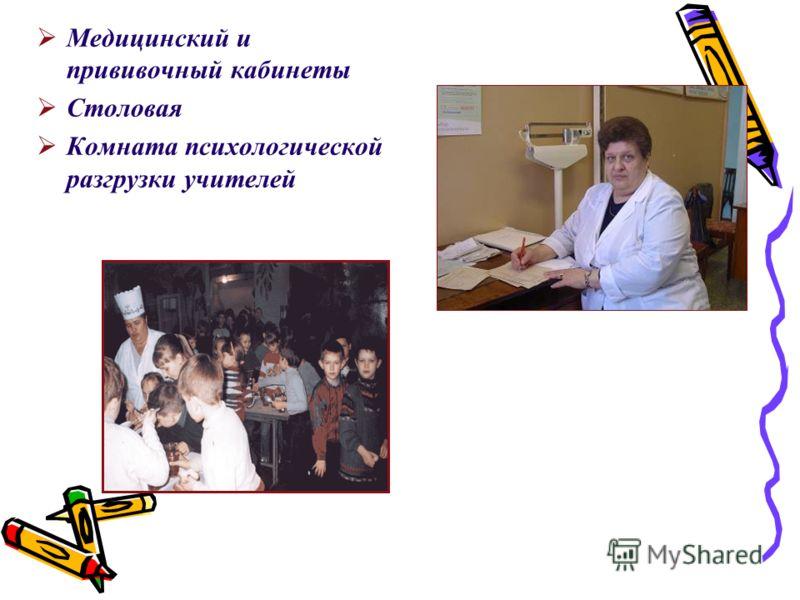 Медицинский и прививочный кабинеты Столовая Комната психологической разгрузки учителей