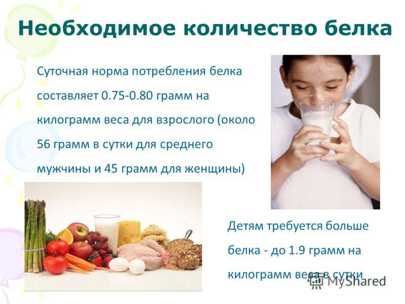 Необходимое количество белка Суточная норма потребления белка составляет 0.75-0.80 грамм на килограмм веса для взрослого (около 56 грамм в сутки для среднего мужчины и 45 грамм для женщины) Детям требуется больше белка - до 1.9 грамм на килограмм вес