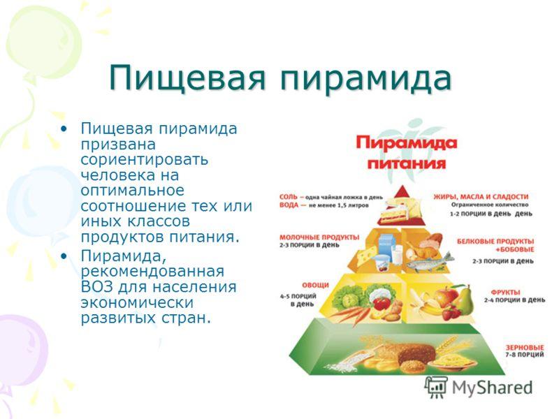 Пищевая пирамида Пищевая пирамида призвана сориентировать человека на оптимальное соотношение тех или иных классов продуктов питания. Пирамида, рекомендованная ВОЗ для населения экономически развитых стран.