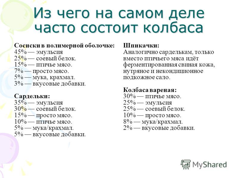 Из чего на самом деле часто состоит колбаса Сосиски в полимерной оболочке: 45% эмульсия 25% соевый белок. 15% птичье мясо. 7% просто мясо. 5% мука, крахмал. 3% вкусовые добавки. Сардельки: 35% эмульсия 30% соевый белок. 15% просто мясо. 10% птичье мя