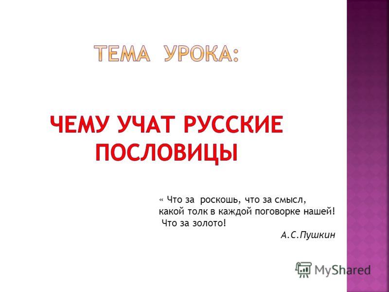 « Что за роскошь, что за смысл, какой толк в каждой поговорке нашей! Что за золото! А.С.Пушкин
