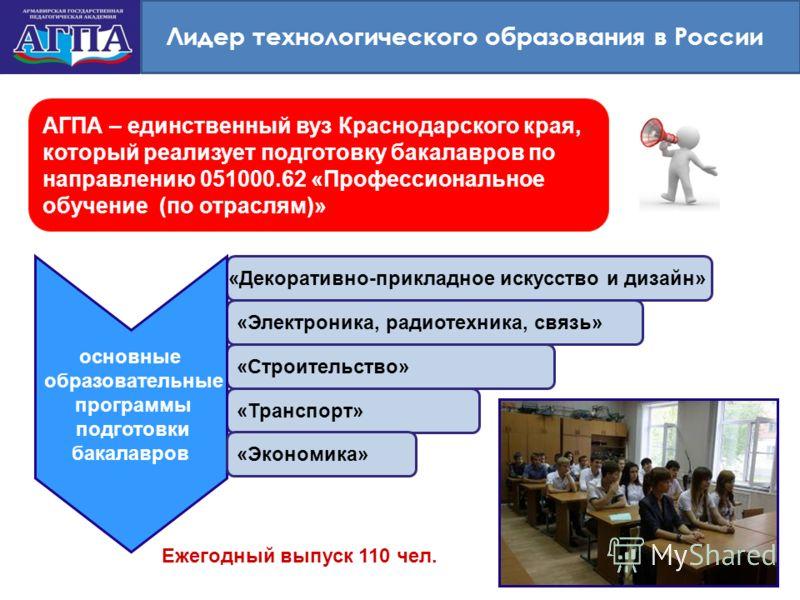 Лидер технологического образования в России АГПА – единственный вуз Краснодарского края, который реализует подготовку бакалавров по направлению 051000.62 «Профессиональное обучение (по отраслям)» «Декоративно-прикладное искусство и дизайн» «Электрони
