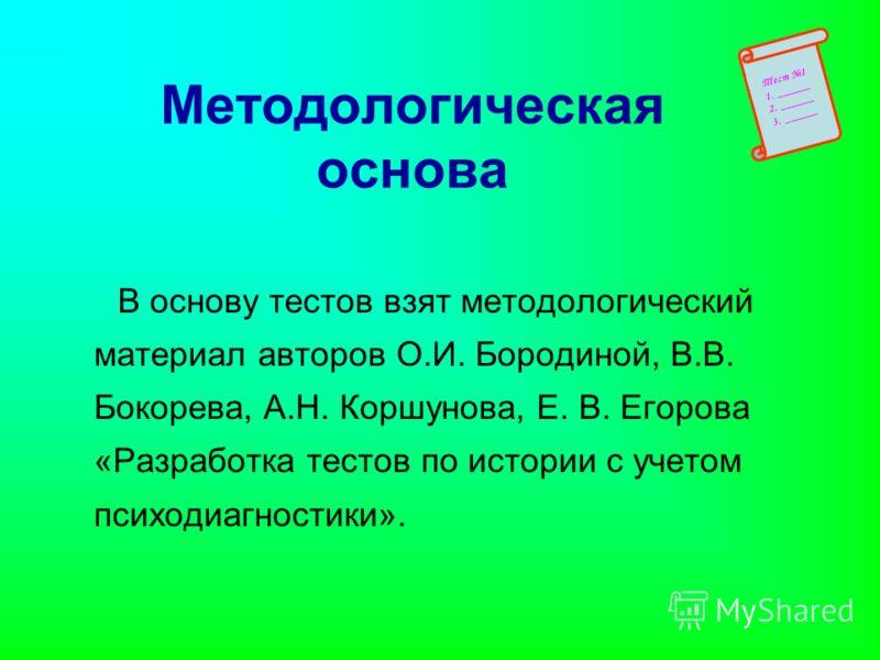 Методологическая основа В основу тестов взят методологический материал авторов О.И. Бородиной, В.В. Бокорева, А.Н. Коршунова, Е. В. Егорова «Разработка тестов по истории с учетом психодиагностики». Тест 1 1. ______ 2. ______ 3. ______