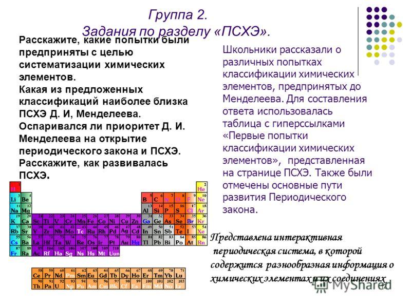 12 Группа 2. Задания по разделу «ПСХЭ». Расскажите, какие попытки были предприняты с целью систематизации химических элементов. Какая из предложенных классификаций наиболее близка ПСХЭ Д. И, Менделеева. Оспаривался ли приоритет Д. И. Менделеева на от