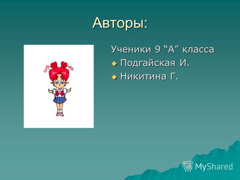 Авторы: Ученики 9 А класса Подгайская И. Подгайская И. Никитина Г. Никитина Г.