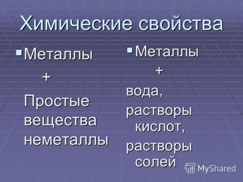 Химические свойства Металлы Металлы + Простые вещества неметаллы Простые вещества неметаллы Металлы Металлы +вода, растворы кислот, растворы солей