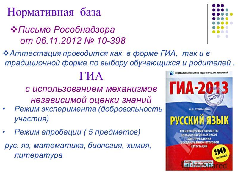 Письмо Рособнадзора от 06.11.2012 10-398 Нормативная база Аттестация проводится как в форме ГИА, так и в традиционной форме по выбору обучающихся и родителей. Режим эксперимента (добровольность участия) Режим апробации ( 5 предметов) рус. яз, математ