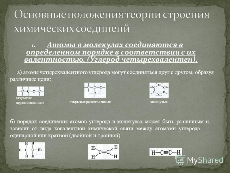 1. Атомы в молекулах соединяются в определенном порядке в соответствии с их валентностью. (Углерод четырехвалентен). открытые разветвленные а) атомы четырехвалентного углерода могут соединяться друг с другом, образуя различные цепи: открытые неразвет