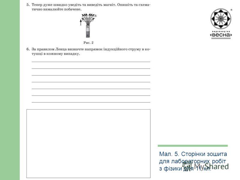 Структура посібника Мал. 5. Сторінки зошита для лабораторних робіт з фізики для 11 кл.