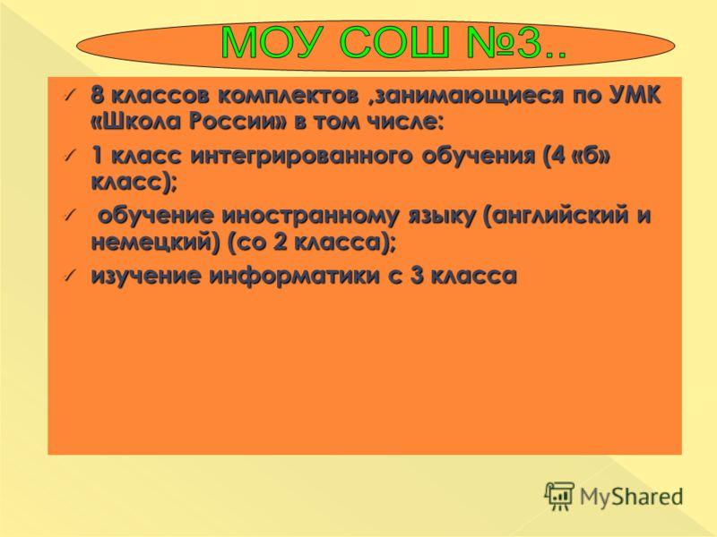 8 классов комплектов,занимающиеся по УМК «Школа России» в том числе: 8 классов комплектов,занимающиеся по УМК «Школа России» в том числе: 1 класс интегрированного обучения (4 «б» класс); 1 класс интегрированного обучения (4 «б» класс); обучение иност