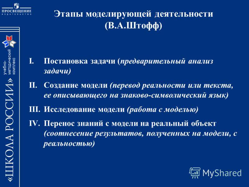 учебно- методический комплекc Этапы моделирующей деятельности (В.А.Штофф) I.Постановка задачи (предварительный анализ задачи) II.Создание модели (перевод реальности или текста, ее описывающего на знаково-символический язык) III.Исследование модели (р