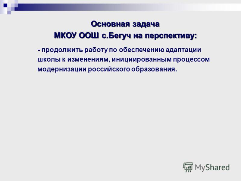 Основная задача МКОУ ООШ с.Бегуч на перспективу: - - продолжить работу по обеспечению адаптации школы к изменениям, инициированным процессом модернизации российского образования.