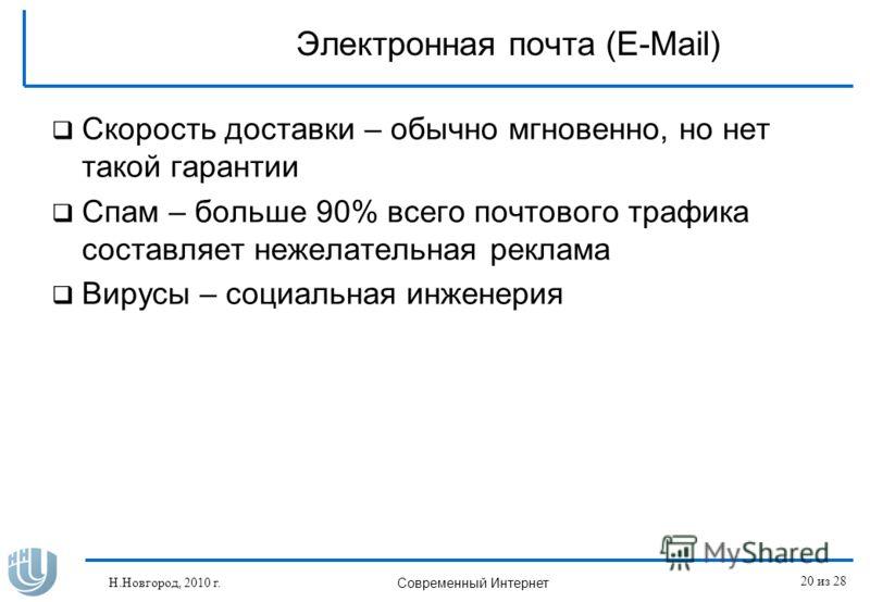 Электронная почта (E-Mail) Скорость доставки – обычно мгновенно, но нет такой гарантии Спам – больше 90% всего почтового трафика составляет нежелательная реклама Вирусы – социальная инженерия Н.Новгород, 2010 г. Современный Интернет 20 из 28