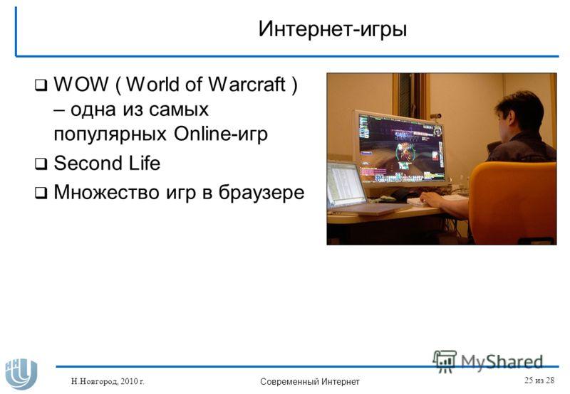 Интернет-игры WOW ( World of Warcraft ) – одна из самых популярных Online-игр Second Life Множество игр в браузере Н.Новгород, 2010 г. Современный Интернет 25 из 28
