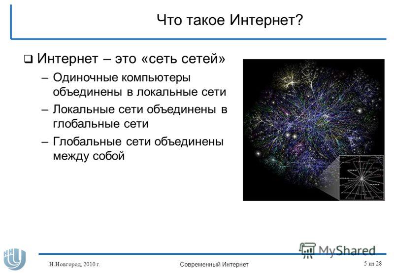 Что такое Интернет? Интернет – это «сеть сетей» –Одиночные компьютеры объединены в локальные сети –Локальные сети объединены в глобальные сети –Глобальные сети объединены между собой Н.Новгород, 2010 г. Современный Интернет 5 из 28