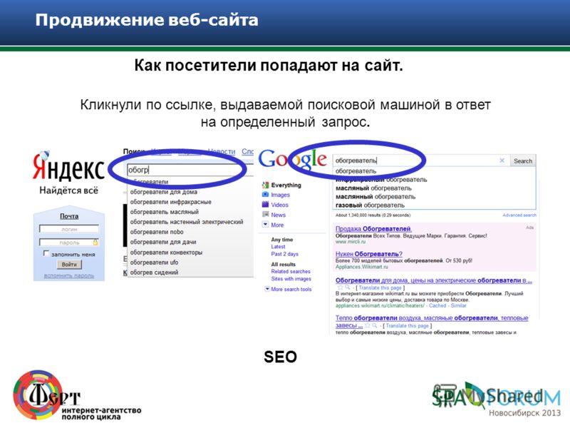 Как посетители попадают на сайт. Продвижение веб-сайта Кликнули по ссылке, выдаваемой поисковой машиной в ответ на определенный запрос. SEO