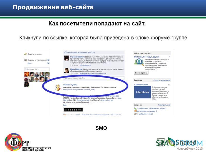 Как посетители попадают на сайт. Продвижение веб-сайта Кликнули по ссылке, которая была приведена в блоке-форуме-группе SMO