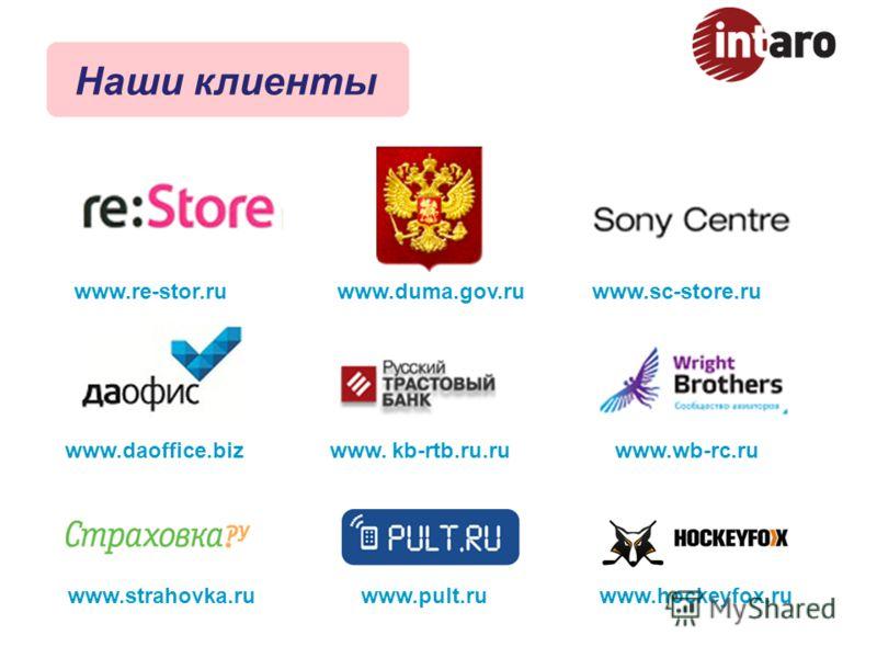 www.duma.gov.ru www.strahovka.ruwww.pult.ru www.daoffice.biz www.re-stor.ruwww.sc-store.ru www. kb-rtb.ru.ruwww.wb-rc.ru www.hockeyfox.ru Наши клиенты