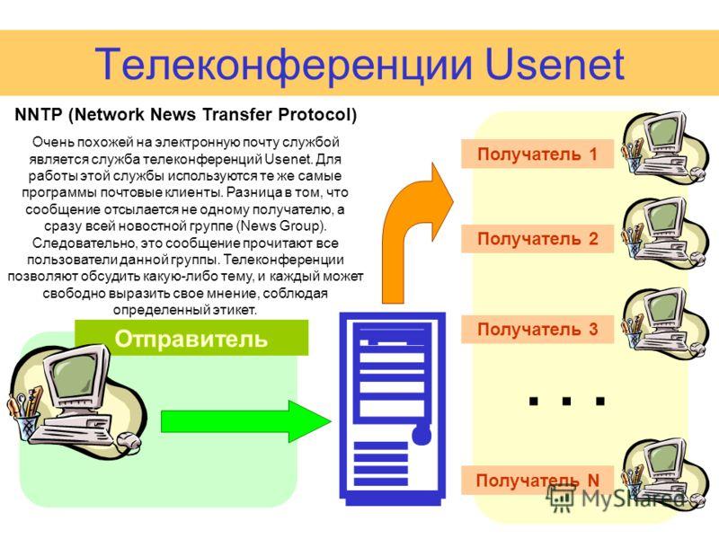 Телеконференции Usenet Отправитель А Получатель 1 NNTP (Network News Transfer Protocol) Очень похожей на электронную почту службой является служба телеконференций Usenet. Для работы этой службы используются те же самые программы почтовые клиенты. Раз