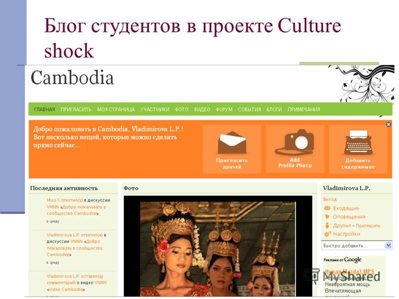 27 Блог студентов в проекте Culture shock Таинственный гость – пригласите кого- нибудь в ваш блог, попросите учащихся завязать с ним диалог и установить его личность; Телекоммуникационный (международный) проект – пригласите учащихся других классов, ш
