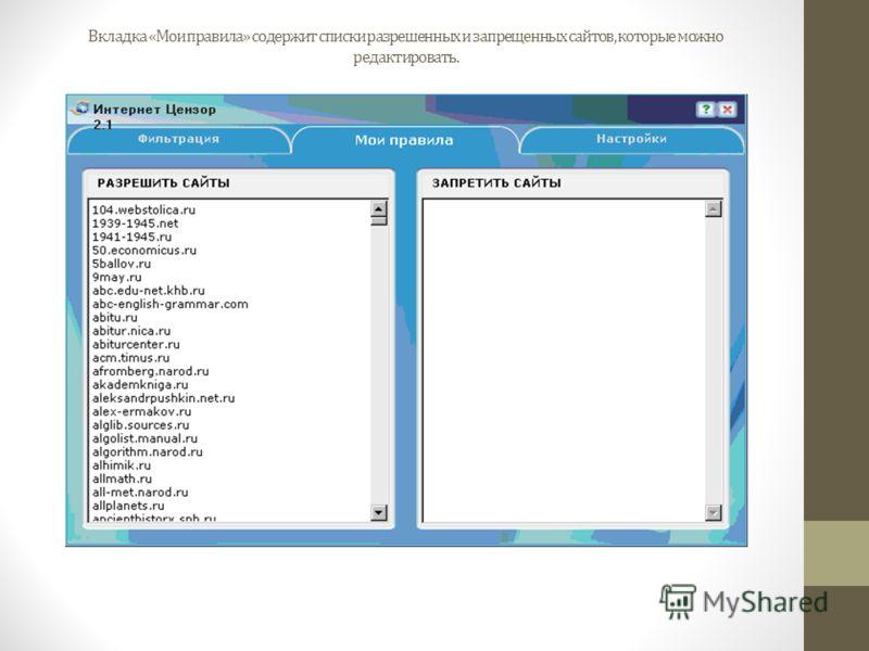 Вкладка «Мои правила» содержит списки разрешенных и запрещенных сайтов, которые можно редактировать.
