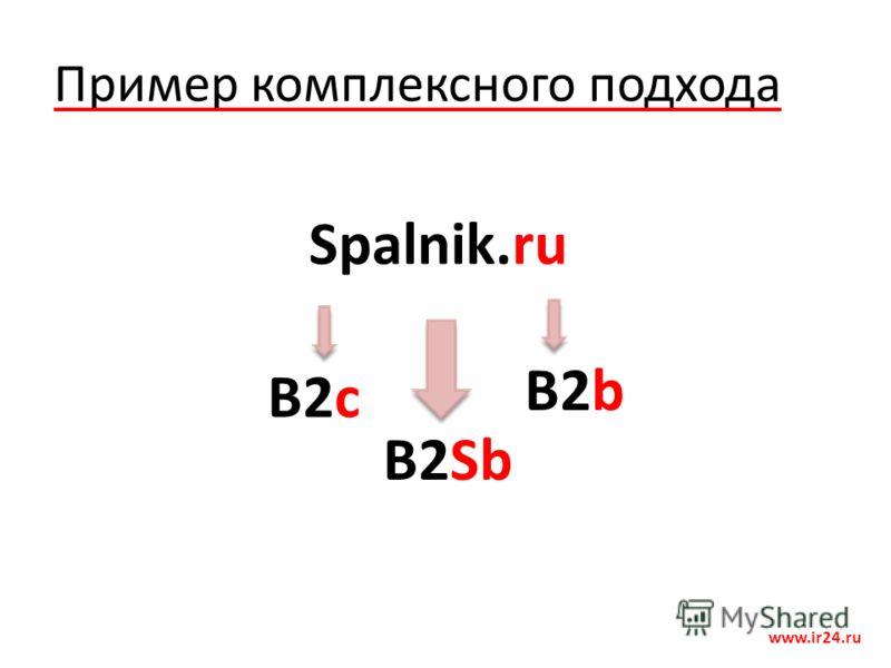 Пример комплексного подхода www.ir24.ru Spalnik.ru B2b B2c B2Sb