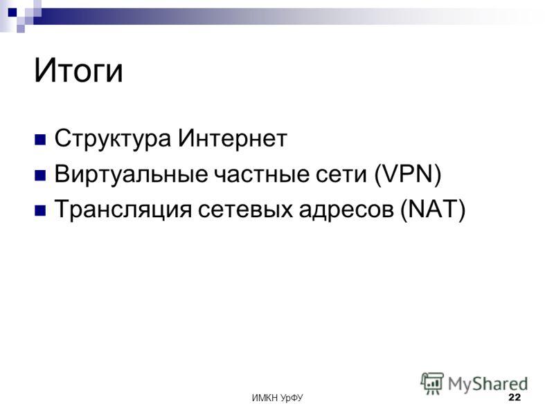 ИМКН УрФУ22 Итоги Структура Интернет Виртуальные частные сети (VPN) Трансляция сетевых адресов (NAT)