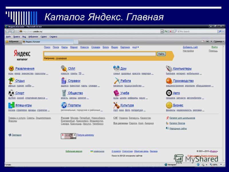8 Каталог Яндекс. Главная страница.