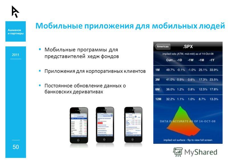 Мобильные приложения для мобильных людей Мобильные программы для представителей хедж фондов Приложения для корпоративных клиентов Постоянное обновление данных о банковских деривативах 2011 50