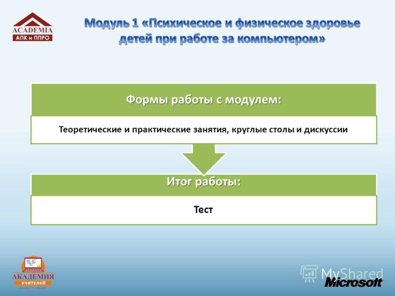 Итог работы: Тест Формы работы с модулем: Теоретические и практические занятия, круглые столы и дискуссии