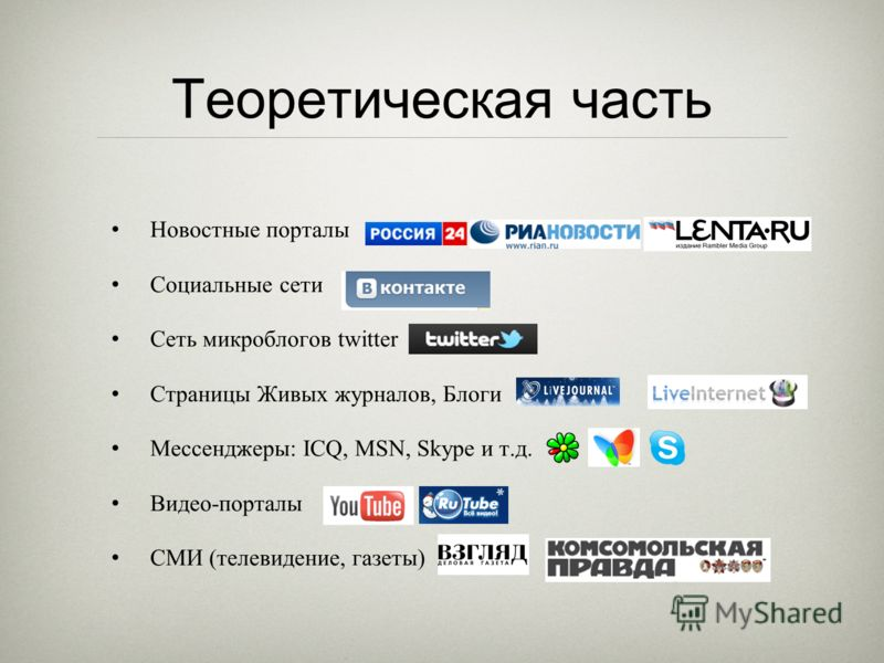Теоретическая часть Новостные порталы Социальные сети Сеть микроблогов twitter Страницы Живых журналов, Блоги Мессенджеры: ICQ, MSN, Skype и т.д. Видео-порталы СМИ (телевидение, газеты)