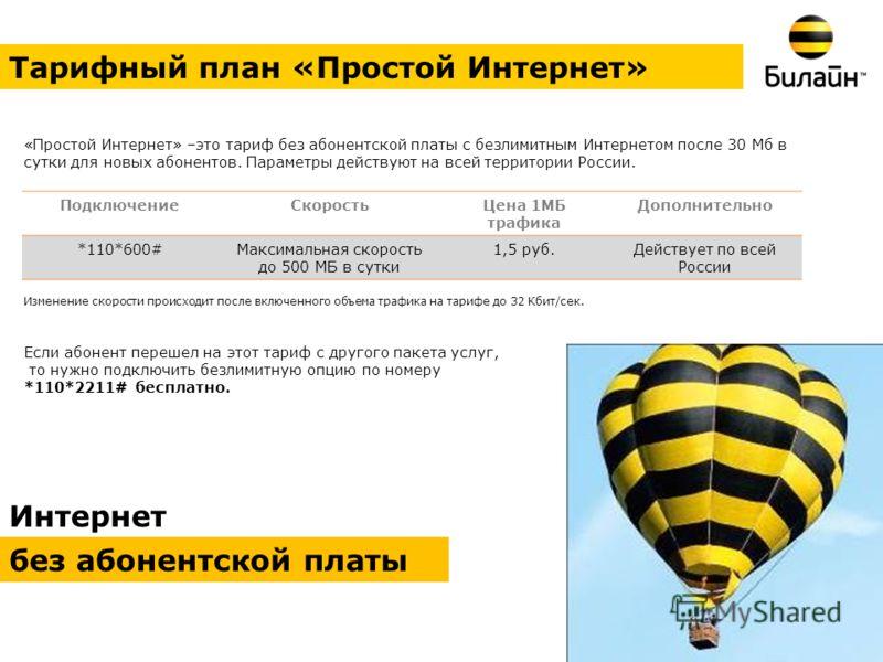 Интернет без абонентской платы Тарифный план «Простой Интернет» «Простой Интернет» –это тариф без абонентской платы с безлимитным Интернетом после 30 Мб в сутки для новых абонентов. Параметры действуют на всей территории России. Изменение скорости пр