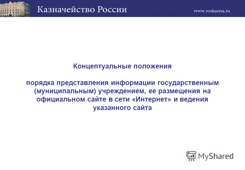 Концептуальные положения порядка представления информации государственным (муниципальным) учреждением, ее размещения на официальном сайте в сети «Интернет» и ведения указанного сайта
