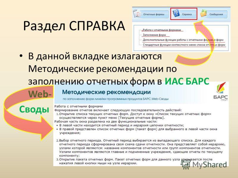 Раздел СПРАВКА В данной вкладке излагаются Методические рекомендации по заполнению отчетных форм в ИАС БАРС Web- Своды