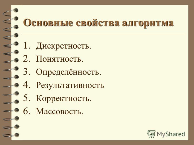 Основные свойства алгоритма 1. Дискретность. 2. Понятность. 3. Определённость. 4. Результативность 5. Корректность. 6. Массовость.