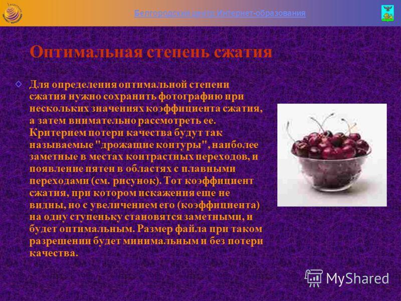Белгородский центр Интернет-образования Оптимизация *.jpg-изображений Данный формат хранит изображения c цветовой глубиной 24bpp (TrueColor) и использует сжатие с потерей информации. У него не так уж много способов оптимизации, точнее сказать, - один