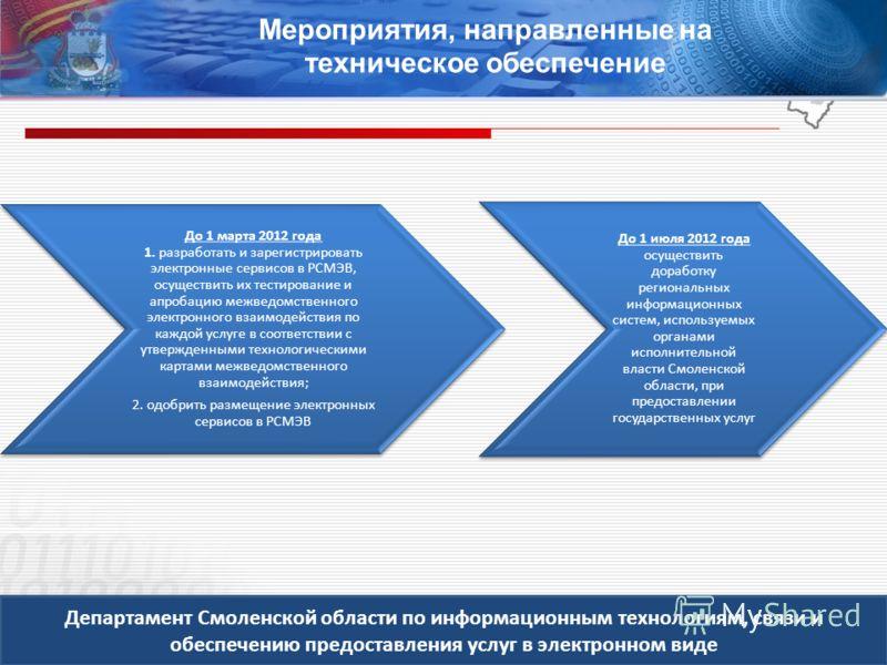 Департамент Смоленской области по информационным технологиям, связи и обеспечению предоставления услуг в электронном виде Мероприятия, направленные на техническое обеспечение До 1 марта 2012 года 1. разработать и зарегистрировать электронные сервисов