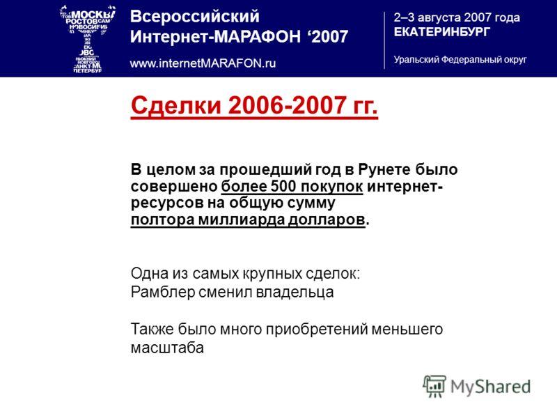 Всероссийский Интернет-МАРАФОН 2007 www.internetMARAFON.ru 2–3 августа 2007 года ЕКАТЕРИНБУРГ Уральский Федеральный округ Сделки 2006-2007 гг. В целом за прошедший год в Рунете было совершено более 500 покупок интернет- ресурсов на общую сумму полтор