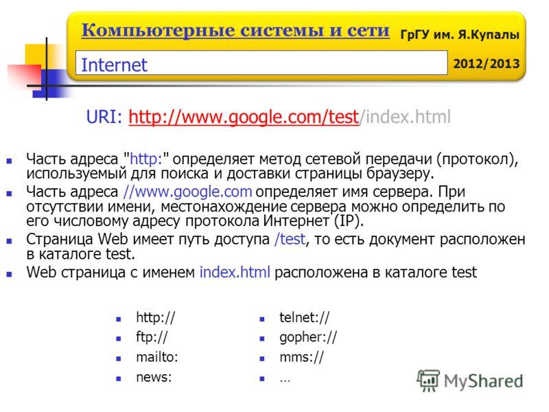ГрГУ им. Я.Купалы 2012/2013 Компьютерные системы и сети URI: http://www.google.com/test/index.htmlhttp://www.google.com/test Часть адреса