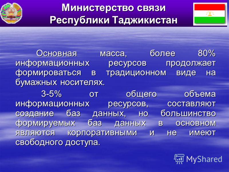 В Таджикистане создана система государственной регистрации информационных ресурсов. В Таджикистане создана система государственной регистрации информационных ресурсов. Для формирования информационных ресурсов отвечающим современным требованием в Респ