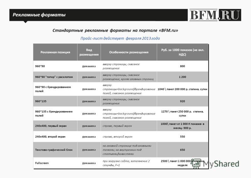 Рекламные форматы Стандартные рекламные форматы на портале «BFM.ru» Рекламные форматы Прайс-лист действует февраля 2013 года