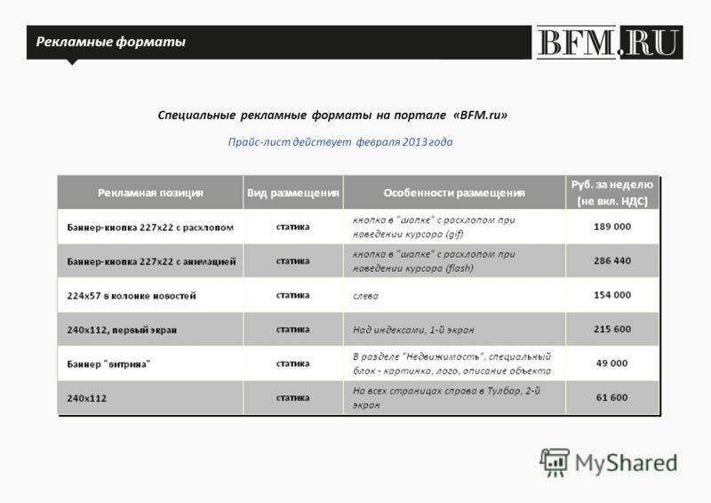 Рекламные форматы Специальные рекламные форматы на портале «BFM.ru» Рекламные форматы Прайс-лист действует февраля 2013 года