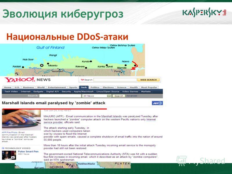 Эволюция киберугроз Национальные DDoS-атаки Май 2007: Эстония Лето 2007: Россия – Астрахань и Краснодар Июнь 2008: Маршалловы острова Эстония Россия
