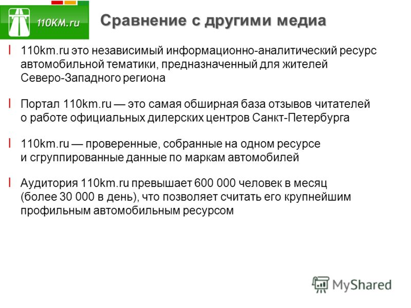 Сравнение с другими медиа ׀ 110km.ru это независимый информационно-аналитический ресурс автомобильной тематики, предназначенный для жителей Северо-Западного региона ׀ Портал 110km.ru это самая обширная база отзывов читателей о работе официальных диле