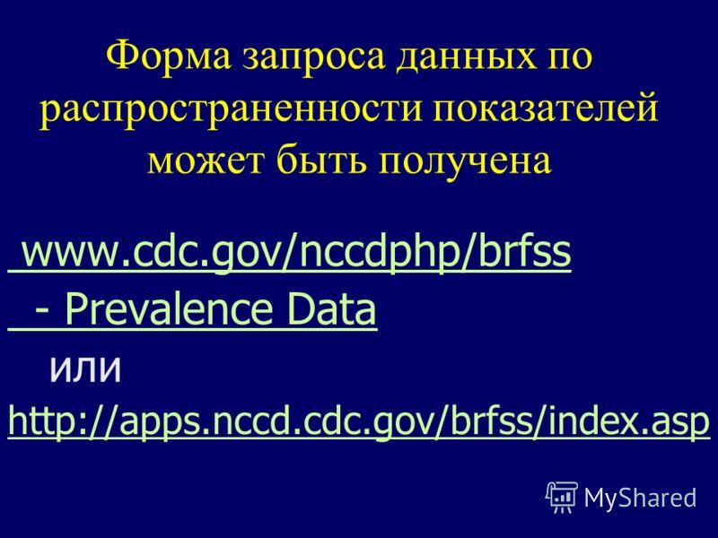 Форма запроса данных по распространенности показателей может быть получена www.cdc.gov/nccdphp/brfss - Prevalence Data или http://apps.nccd.cdc.gov/brfss/index.asp