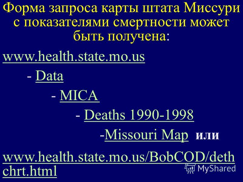 Форма запроса карты штата Миссури с показателями смертности может быть получена: www.health.state.mo.us - DataData - MICAMICA - Deaths 1990-1998Deaths 1990-1998 -Missouri Map илиMissouri Map www.health.state.mo.us/BobCOD/deth chrt.html